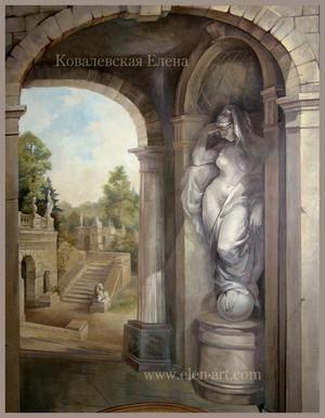роспись стен классика,роспись-обманка,настенная роспись,роспись со статуейьпейзаж,художник Ковалевская