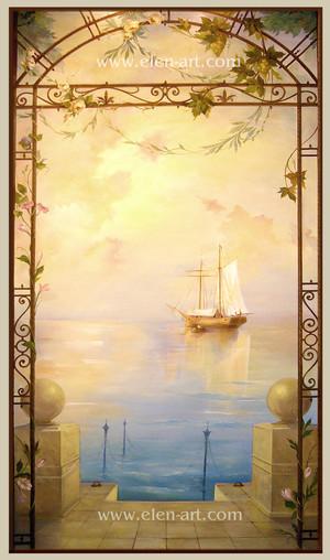 роспись стен,роспись пейзаж,красивая роспись,обманка,роспись море,художник Ковалевская